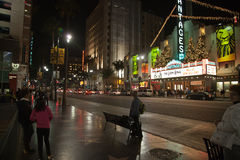Hollywood: view of the Walk Of Fame at night Stock Photos