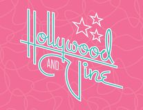 Hollywood and Vine Retro Vector Design with Stars. Custom hand drawn script design of the words Hollywood and Vine with retro 1950s style vibe, reminiscent of Royalty Free Stock Image