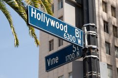 Hollywood and Vine street sign. Street sign marking the famous intersection of Hollywood and Vine Streets in Los Angeles, California Stock Images