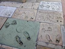 Hollywood walk of fame footprints Stock Photo