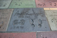 Hollywood Walk of Fame on Hollywood Boulevard, Los Angeles, Cali. Hand and Foot Prints of Movie Stars on the Hollywood Walk of Fame on Hollywood Boulevard in Los Stock Photos