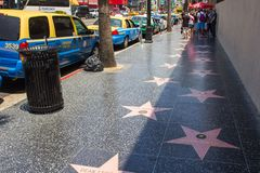 Hollywood walk of fame. Los Angeles, CA, USA - 6th July 2013: Hollywood walk of fame in LA Royalty Free Stock Photo