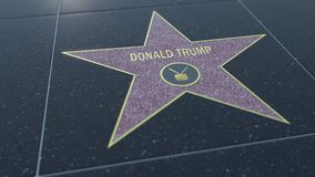 Hollywood Walk of Fame star with DONALD TRUMP inscription. Editorial 3D rendering Stock Photo