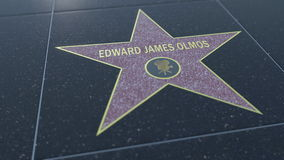 Hollywood Walk of Fame star with EDWARD JAMES OLMOS inscription. Editorial 3D rendering Royalty Free Stock Photography