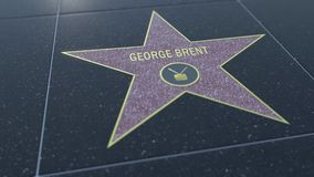 Hollywood Walk of Fame star with GEORGE BRENT inscription. Editorial 3D rendering Royalty Free Stock Images