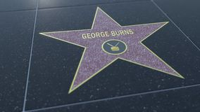 Hollywood Walk of Fame star with GEORGE BURNS inscription. Editorial 3D rendering Royalty Free Stock Images