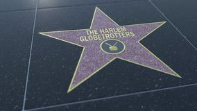 Hollywood Walk of Fame star with THE HARLEM GLOBETROTTERS inscription. Editorial 3D rendering Stock Photos