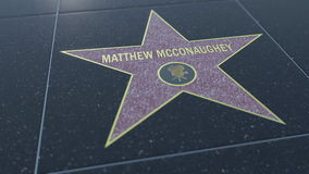 Hollywood Walk of Fame star with MATTHEW MCCONAUGHEY inscription. Editorial 3D rendering Stock Photo