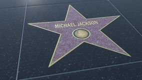 Hollywood Walk of Fame star with MICHAEL JACKSON inscription. Editorial 3D rendering. Hollywood Walk of Fame star with MICHAEL JACKSON inscription. Editorial 3D Royalty Free Stock Photo