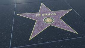 Hollywood Walk of Fame star with THE MIRACLES inscription. Editorial 3D rendering Stock Image