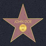 Hollywood walk of fame star for movie actor. Famous sidewalk with celebrity reward symbol. Vector. Hollywood walk of fame star for movie actor. Famous sidewalk royalty free illustration
