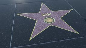 Hollywood Walk of Fame star with SLASH inscription. Editorial 3D rendering Stock Photography