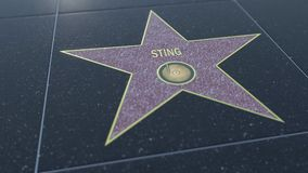 Hollywood Walk of Fame star with STING inscription. Editorial 3D rendering. Hollywood Walk of Fame star with STING inscription. Editorial 3D Royalty Free Stock Photography