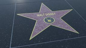 Hollywood Walk of Fame star with WALT DISNEY inscription. Editorial 3D rendering Royalty Free Stock Photo