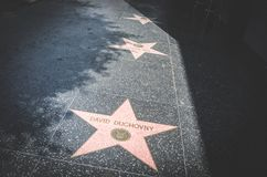 Hollywood Walk of Fame. Tourist attraction of Hollywood Boulevard in Los Angeles, California. Los Angeles, California, USA - June 21, 2017: Hollywood Walk of Stock Photography