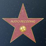Hollywood Walk Of Fame. Vector Star Illustration. Famous Sidewalk Boulevard. Phonograph Record Representing Audio Stock Image