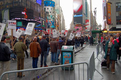 Hollywood writers strike. Picketers of the Writers Guild of America on strike on the Times Square , New - York Stock Image