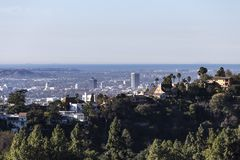 Hollywood wzgórzy domy z oceanu spokojnego widokiem zdjęcia royalty free