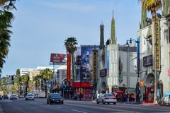 Hollywoodboulevard op een zonnige dag stock foto