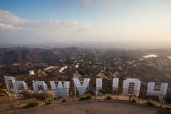Hollywoodteken bij Zonsondergang stock afbeelding