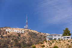 Hollywoodteken op de heuvel Stock Foto