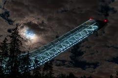 Holmenkollen ski jump in Oslo. Oslo ski jump at night during eclipse Stock Images