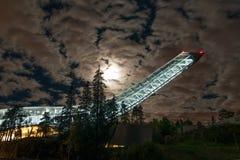 Holmenkollen ski jump in Oslo. Oslo ski jump at night during eclipse Stock Image