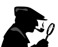 Holmes. Illustration of a detective with pipe and magnifying glass Stock Images