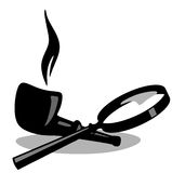Holmes. Illustration of a pipe and a magnifying glass Royalty Free Stock Image