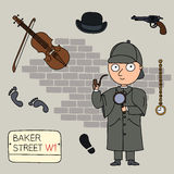 Holmes. Sherlock Holmes.Set of cartoon objects that are symbols of London Royalty Free Stock Images