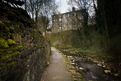 Holmfirth Stream. A view of buildings in Holmfirth next to stream Royalty Free Stock Images