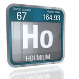 Holmium symbol  in square shape with metallic border and transparent background with reflection on the floor. 3D render Stock Images