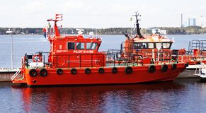 Pilot and sea rescue boats on assignment stock photo