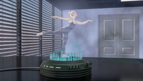 A holo dancer is projected with a holo projector. A hologram woman is dancing 3d rendering Stock Photography