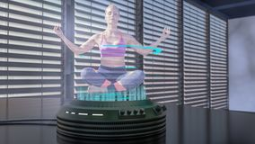 A holo dancer is projected with a holo projector. A holo projector projects a yoga woman 3d rendering Stock Images