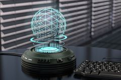 A holo projector. Projects a shimmering blue sphere3d rendering Stock Photos