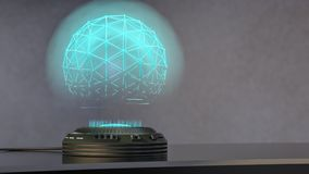 A holo projector projects a shimmering blue sphere. 3d rendering Royalty Free Stock Photos
