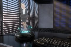 A holo projector. Projects a sympathetic business woman 3d mixed media Royalty Free Stock Photos