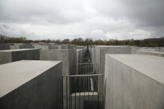 The Holocaost Memorial - Berlin. Germany opened 2005. The monument consist of 2711 concrete blocks placed on 19.000 squaremeters Royalty Free Stock Images