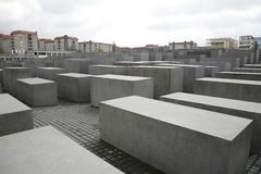 The Holocaost Memorial - Berlin. Germany opened 2005. The monument consist of 2711 concrete blocks placed on 19.000 squaremeters Royalty Free Stock Photo