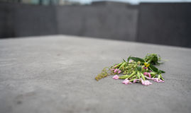 Holocaust memorial. Berlin with flowers Royalty Free Stock Photo