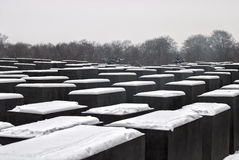 Holocaust Memorial, Berlin. The Field of Steles of the Holocaust Memorial in Berlin, Germany, snowed in Royalty Free Stock Photography