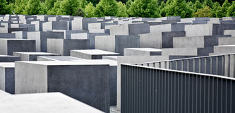Holocaust Memorial Berlin. View of the memorial with trees in the background Stock Images
