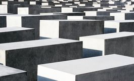 Holocaust memorial in Berlin. Close-up view on the Holocaust Memorial in Berlin. There are 2,711 concrete blocks. It reminds on the murdered Jews of Europe Stock Photography