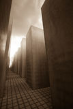 Holocaust Memorial Berlin. View from amidst holocaust memorial gravestones in Berlin Germany Stock Photo