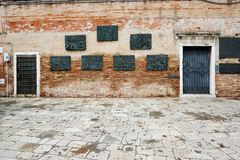 Holocaust memorial commemorating Venetian Jews deported by German Nazis during World War II stock image