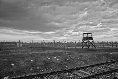 Holocaust Memorial Museum. Barbed wire and fance around a concentration camp. Stock Photo