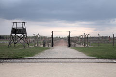 Holocaust Memorial Museum.  Barbed wire and fance inside a concentration camp. Royalty Free Stock Photo
