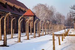 Holocaust Memorial Museum.  Barbed wire and fance inside a concentration camp. Stock Photo