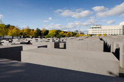 Holocaust Memorial. A view on the Holocaust Memorial in Berlin. There are 2,711 concrete blocks. It reminds on the murdered Jews of Europe. It is located in the Royalty Free Stock Images
